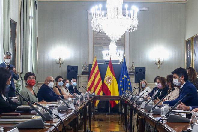 Vista general de los asistentes que participan en la Comisión Bilatera Generalitat de Catalunya - Estado, a 2 de agosto de 2021, en la sede del Ministerio, en Madrid (España).
