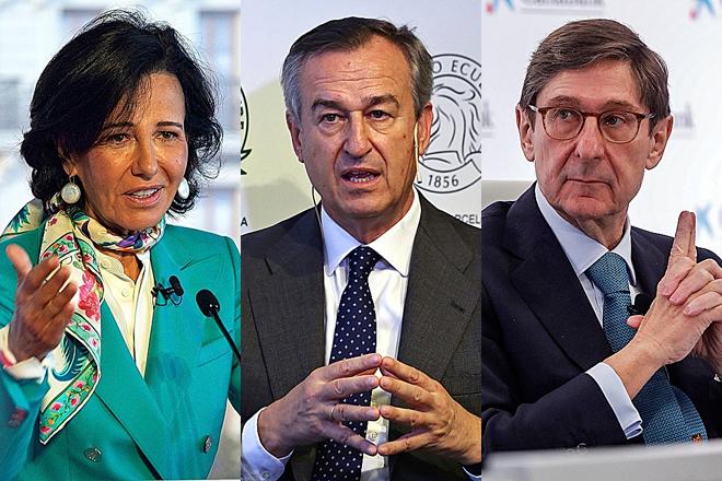 Ana Botín, presidenta de Santander, César González Bueno, CEO de Sabadell, y José Ignacio Gorigolzarri, presidente de CaixaBank.