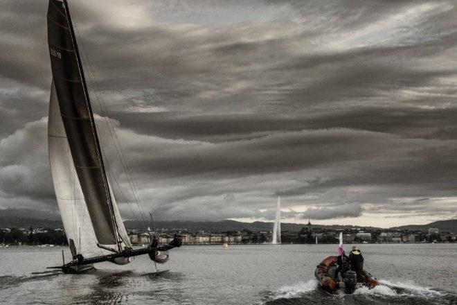 Las nubes sobre el lago Lemán presagiaban una de las tormentas más violentas que se recuerdan en la regata.