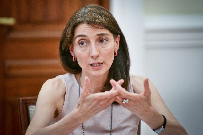 Pilar Llop, ministra de Justicia, en un momento de la entrevista con EXPANSIÓN.
