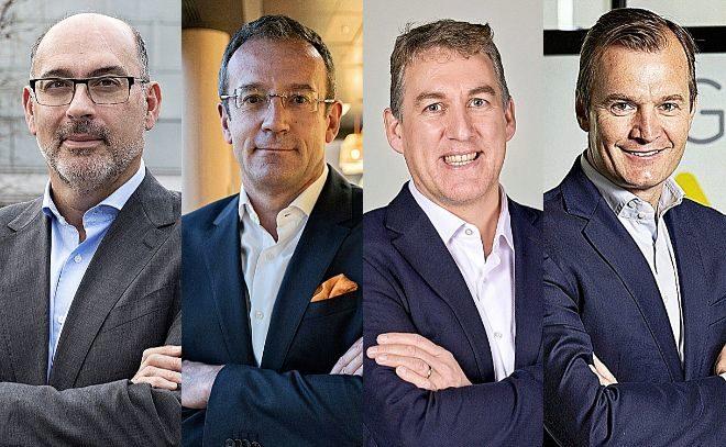De izquierda a derecha, Emilio Gayo, presidente de Telefónica España; Jean François Fallacher, CEO de Orange en España; Colman Deegan, CEO de Vodafone en España; y Meinrad Spenger, consejero delegado de MásMóvil.