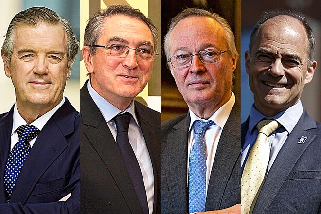 Andrés Sendagorta, presidente de Sener; Ginés Clemente, presidente de Aciturri; Josep Piqué, presidente de ITP Aero; Warren East, consejero delegado de Rolls-Royce.