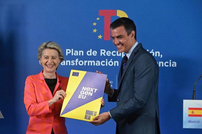 Ursula von der Leyen y Pedro Sánchez el día en el que la Comisión aprobó el plan de recuperación español.