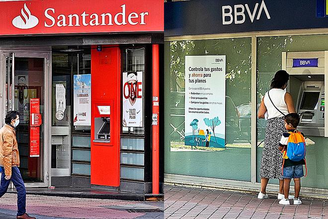 Oficina de BBVA y sucursal de Banco Santander.