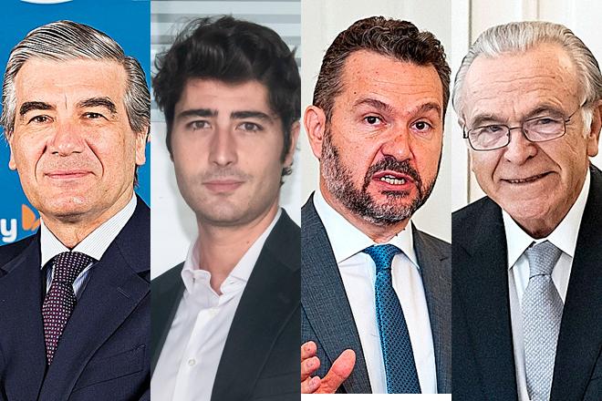De izquierda a derecha, Francisco Reynés, presidente de Naturgy; Jaime Siles, responsable de IFM en España; Rodrigo Buenaventura, presidente de la CNMV; e Isidro Fainé, presidente de la Fundación la Caixa.