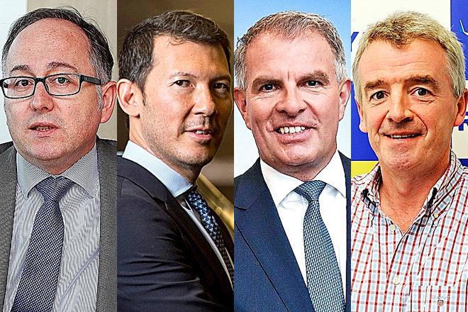 De izquierda a derecha Luis Gallego, consejero delegado de IAG; Benjamin Smith, consejero delegado de Air France-KLM; Carsten Spohr, consejero delegado de Lufthansa; y Michael O'Leary, consejero delegado del grupo Ryanair.