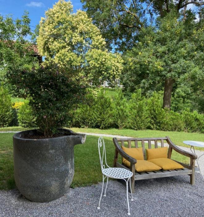 Jardín trasero de OAR cottage.