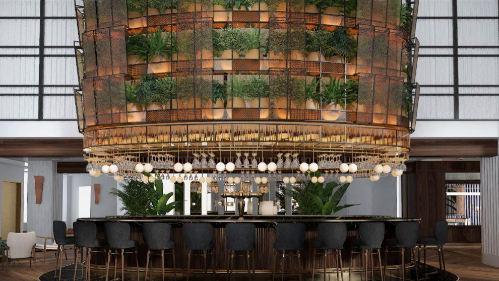 Recepción-coctelería del hotel Only You de Valencia.