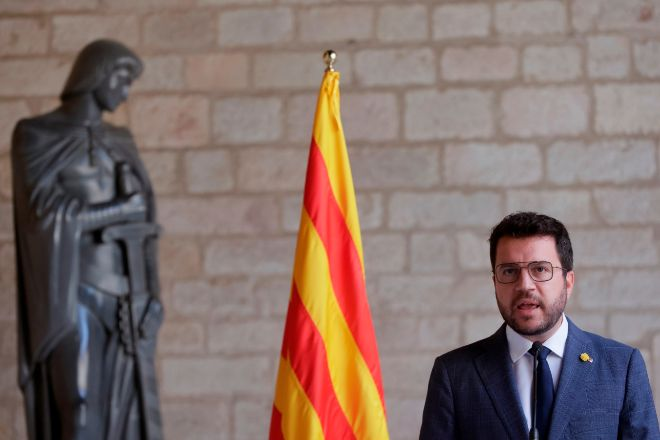 El presidente de la Generalitat catalana, Pere Aragonès, ayer en Barcelona.