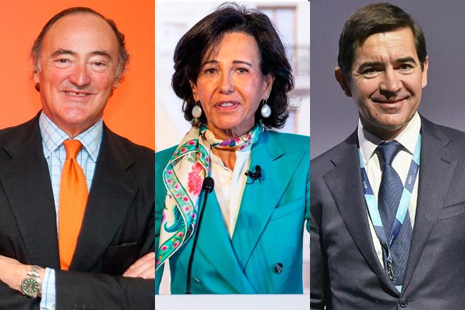 De izquierda a derecha, Pedro Guerrero, presidente de Bankinter; Ana Botín, presidenta de Banco Santander; y Carlos Torres, presidente de BBVA.