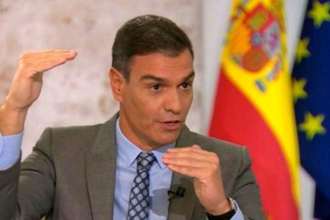 El presidente del Gobierno, Pedro Sánchez, durante su reciente entrevista en TVE.