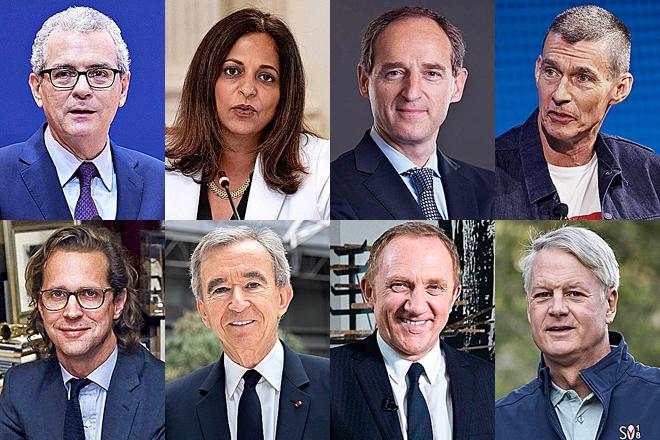 De izquierda a derecha y de arriba a abajo, Pablo Isla, presidente de Inditex; Sonia Syngal, consejera delegada de Gap; Patrice Louvet, consejero delegado de Ralph Lauren; Chip Bergh, consejero delegado de Levi's; Stefan Larsson, consejero delegado de PVH; Bernard Arnault, consejero delegado de LVMH; François-Henri Pinault, CEO de Kering; y John Donahoe, consejero delegado de Nike.
