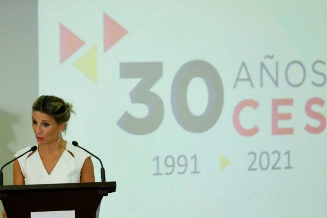 La vicepresidenta segunda y ministra de Trabajo, Yolanda Díaz, ayer durante el acto conmemorativo del 30 aniversario del Consejo Económico y Social (CES) en Madrid.