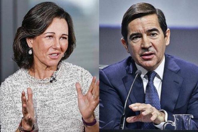 Ana Botín, presidenta de Santander, y Carlos Torres, presidente de BBVA.