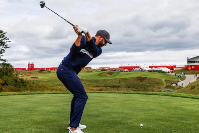 Dustin Johnson, el tercer golfista con más ingresos en los campos, con 72,6 millones de dólares, el miércoles en la Ryder Cup.