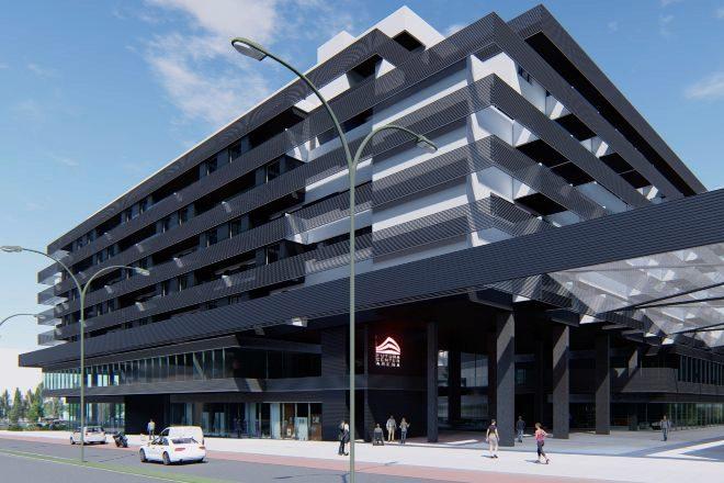 Recreación del proyecto Futura Center Arena en Rivas Vaciamadrid financiado por Xenia Capital.