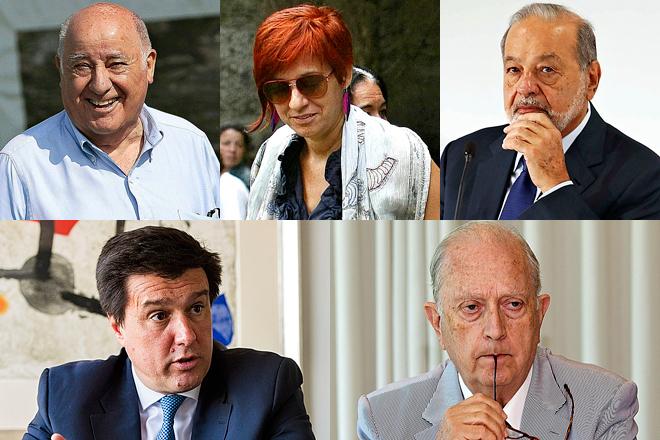 Amancio Ortega, Sandra Ortega, Carlos Slim, Ismael Clemente y Juan José Brugera.
