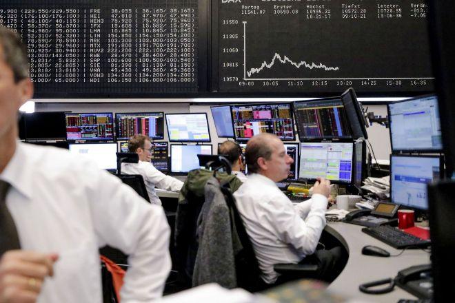 Operadores en la Bolsa alemana.