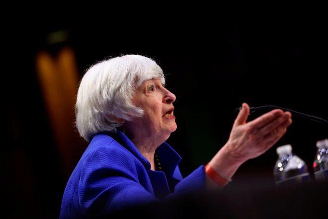 La secretaria del Tesoro, Janet Yellen, ante el Senado de EEUU.