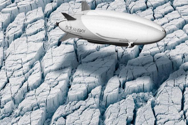 Dirigible híbrido en el Polo Norte de OceanSky Cruises.