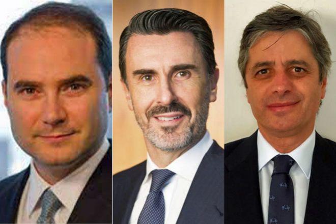 Fernando Rivas, responsable de Banca de Inversión en Norteamérica de JPMorgan; Ignacio de la Colina, presidente y CEO de JPMorgan para España y Portugal, y Carlos Pertejo, responsable del Sector Financiero en JPMorgan para España y Portugal.