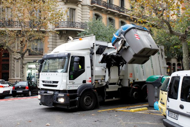 Camión de recogida de basura de Barcelona.
