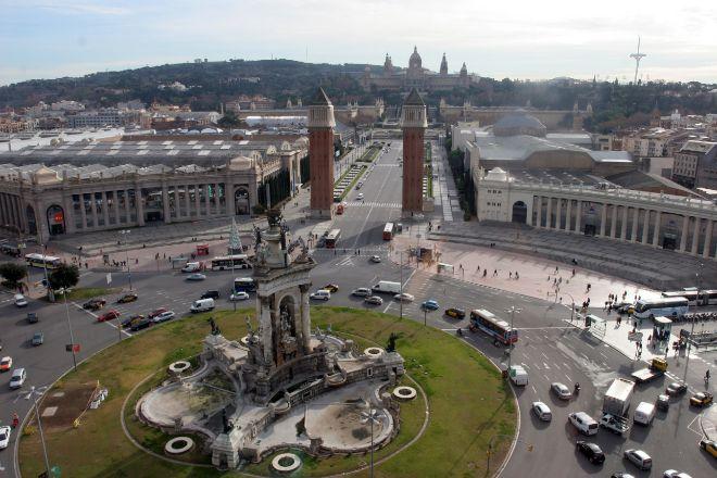 Entrada principal al recinto ferial de Montjuïc, legado de la Exposición Univeral que tuvo lugar en 1929 en la capital catalana.