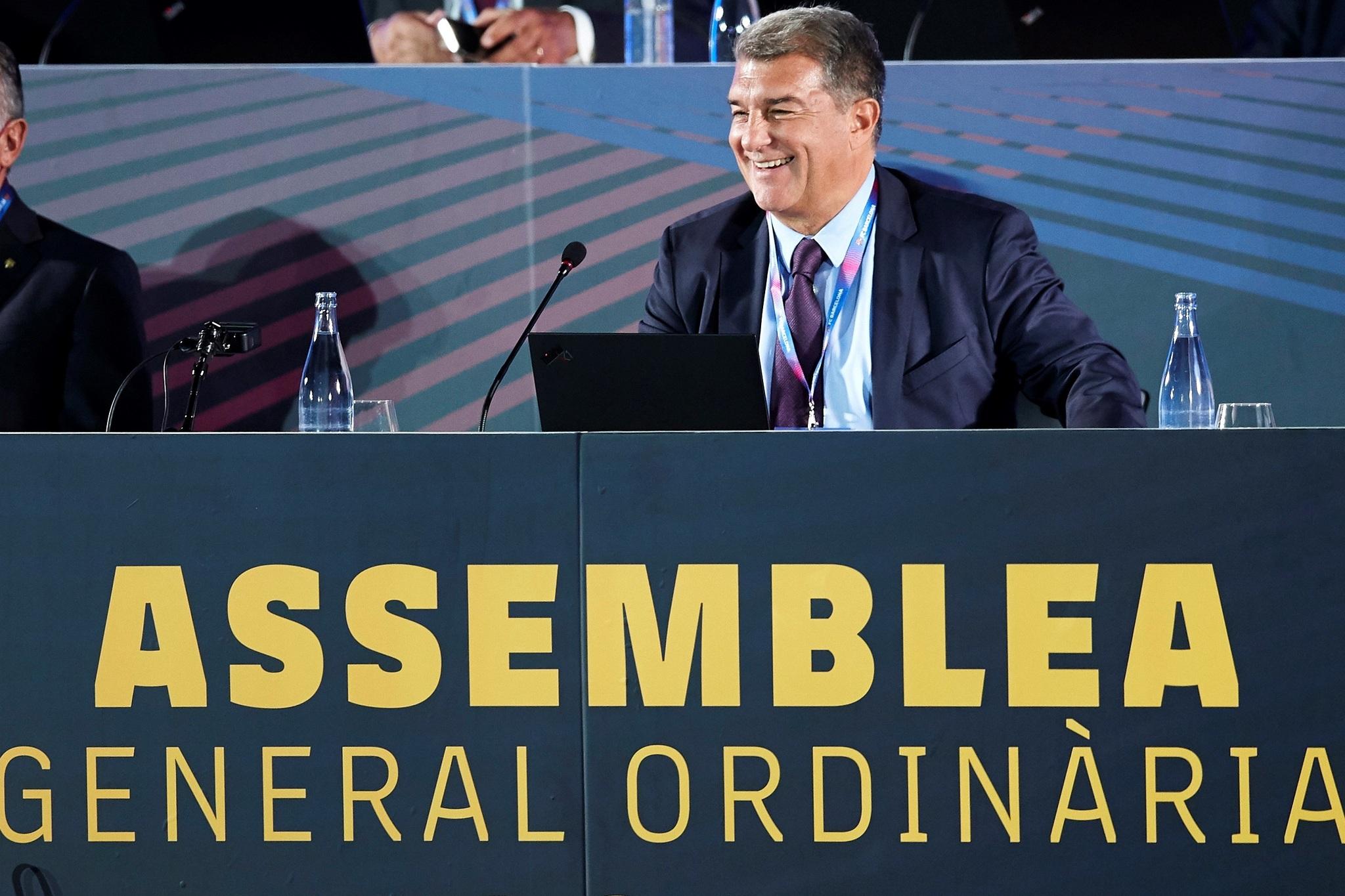 El presidente del FC Barcelona, Joan Laporta, esta tarde.