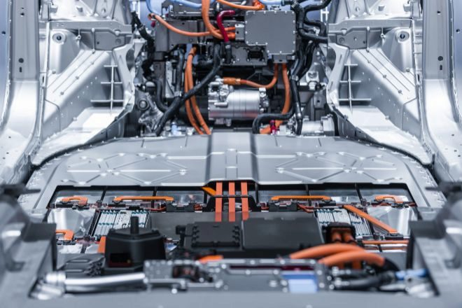 Baterías en un coche eléctrico.