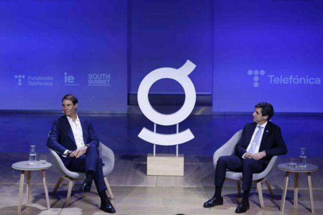 Rafael Nadal y José María Álvarez-Pallete, durante el encuentro de esta tarde.