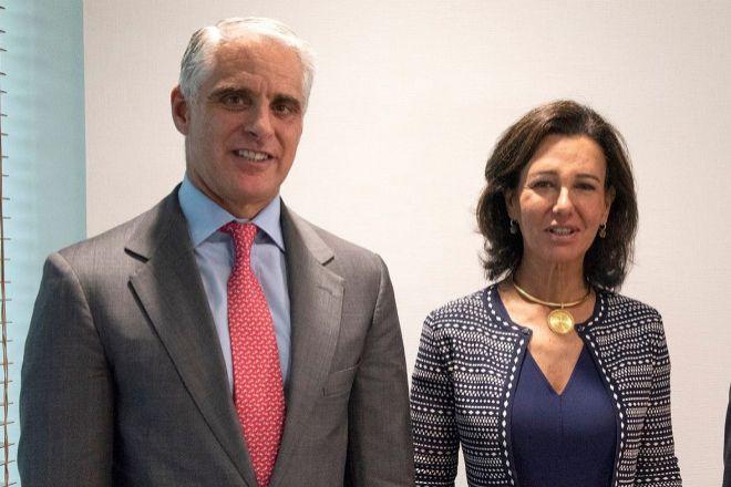 Andrea Orcel y Ana Botín, el 25 de septiembre de 2018, fecha en la que se anunció su incorporación a Santander como consejero delegado.