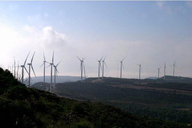 Parque eólico situado en la localidad de Rubió, en la comarca de La Anoia.