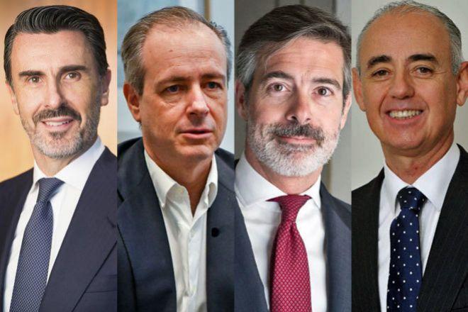 De izquierda a derecha, Ignacio de la Colina, presidente de JPMorgan para España y Portugal; Luis Sancho, responsable de Banca Corporativa y de Inversión de BNP; Nacho Moreno, responsable de Banking para España y Portugal de Barclays, y Jorge Lucaya, socio fundador de AZ Capital.