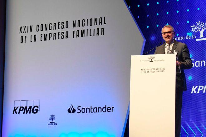 Marc Puig, presidente del Instituto de la Empresa Familiar, durante la clausura ayer del XXIV Congreso Anual de la organización, celebrado en Pamplona.