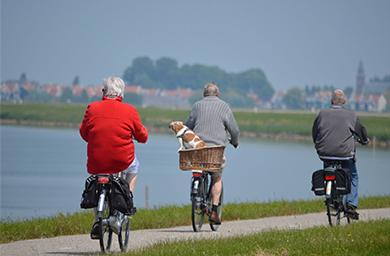 Ancianos montando en bici