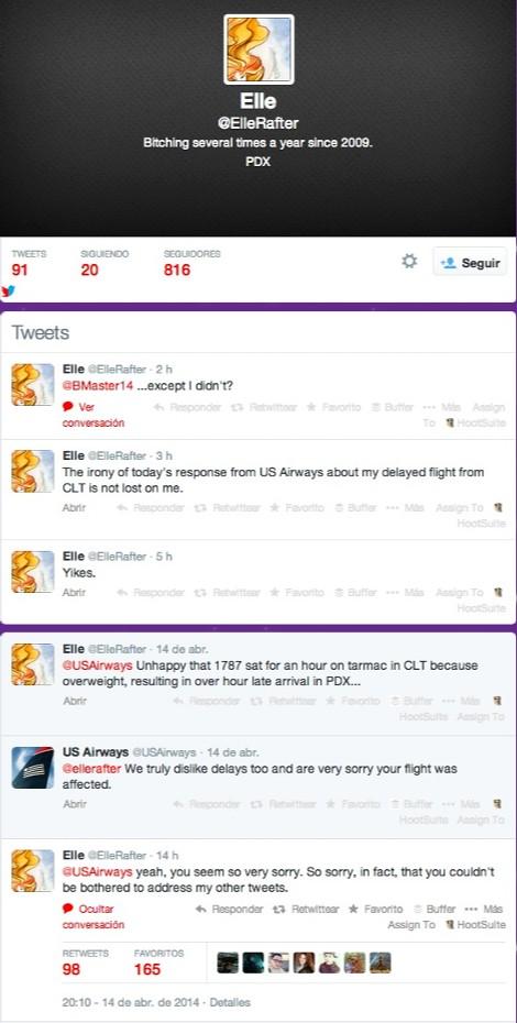 Tweet de @ElleRafter, polémica US Airways