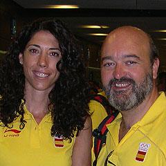 Carlota Castrejana y Manuel Martín, abogados de Gómez-Acebo & Pombo, en los JJOO de Pekín 2008.