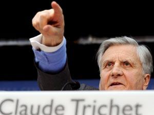 El presidente del BCE, Jean-Claude Trichet, durante la rueda de prensa ofrecida hoy en Fráncfort   Foto Efe