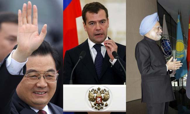Los líderes de Brasil, Rusia, India y China, las cuatro grandes países emergentes que forman el grupo BRIC, celebrarán mañana su primera cumbre formal centrada en la economía