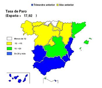 Tasa de paro en comunidades autónomas según edades. Fuente: INE