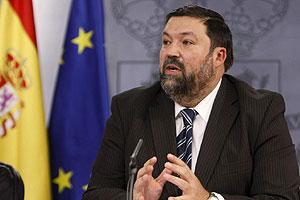 El ministro de Justicia, Francisco Caamaño en la rueda de prensa en el Palacio de la Moncloa.