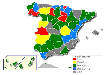 Tasas de variación interanual del precio de la vivienda en España según distribución provincial. Fuente: Ministerio de Vivienda
