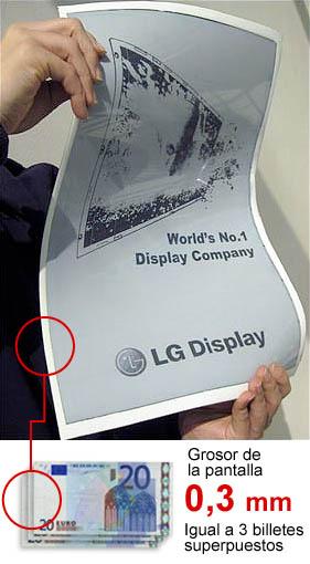 La nueva pantalla electrónica de LG tiene un grosor de 0,3mm