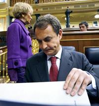 José Luis Rodríguez Zapatero momentos antes de su comparecencia a petición propia en el Congreso.