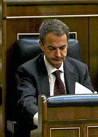 José Luis Rodríguez Zapatero en el Congreso