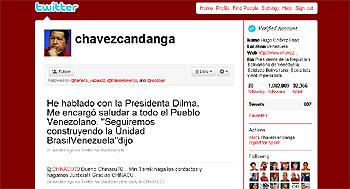 Imagen del Twitter de Hugo Chávez.