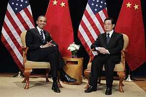 Barack Obama posa con el presidente chino Hu Jintao en la cumbre del G-20. Fuente: AP Photo/Charles Dharapak)