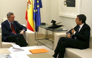 Zapatero y Gallardón en su encuentro de hoy.