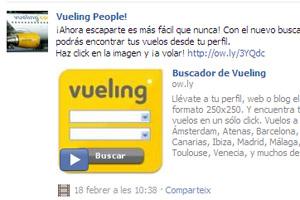 Imagen de la aplicación de Vueling para Facebook.