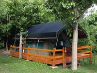 Una de las tiendas del camping Voraparc.